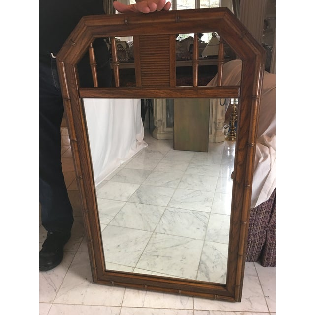 1960s Boho Chic Faux Bamboo Wood Mirror For Sale - Image 4 of 8