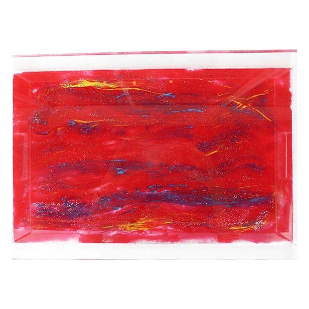 Lucite Tray With Abstract Painted Bottom - Image 4 of 4