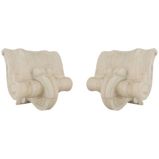 French 1940s Neoclassic White Plaster Capital Wall Sconces - a Pair For Sale