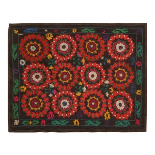 Red & Green Uzbeki Suzani Textile- 6' X 7'6″ For Sale