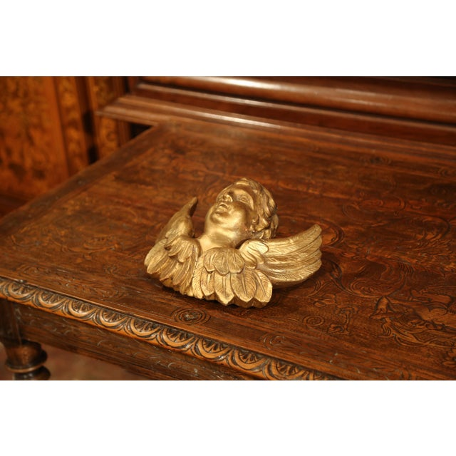 French 19th Century French Carved Giltwood Wall Hanging Cherub With Wings Sculpture For Sale - Image 3 of 9