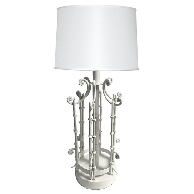 Chinoiserie Faux Bamboo White Table Lamp For Sale