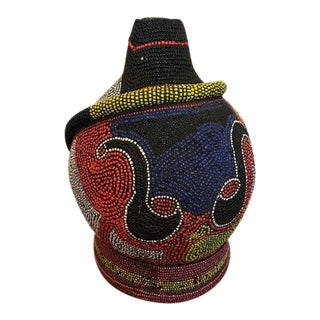 Early 20th Century African Beaded Vessel For Sale