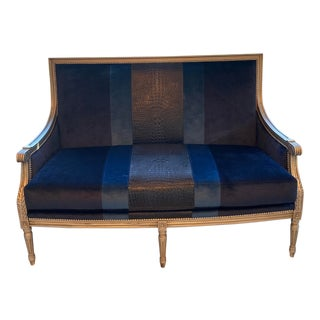 Massoud Lilah Navy Colorblock Settee For Sale