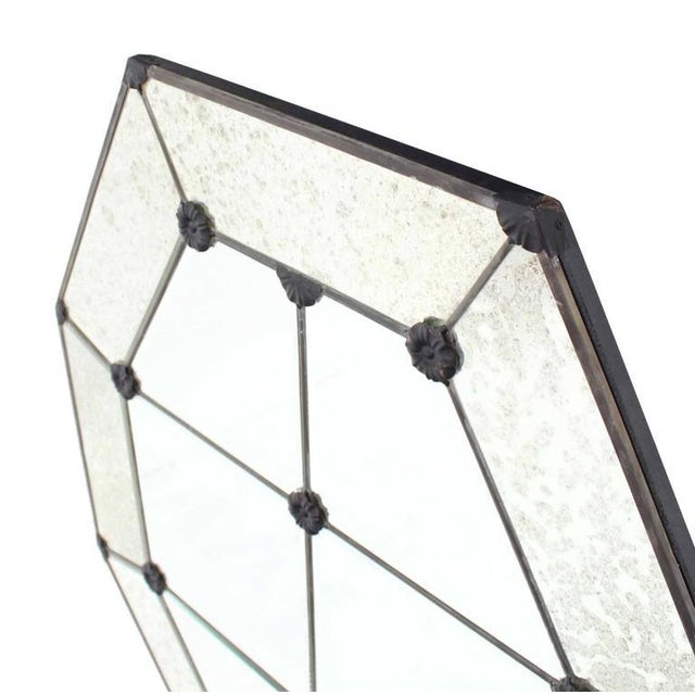 Pair of Large Octagon Wall Mirrors For Sale - Image 4 of 8