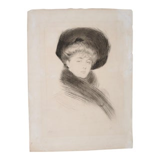 Paul Helleu (French, 1859-1927) Drypoint Etching of an Elegant Woman C.1900 For Sale