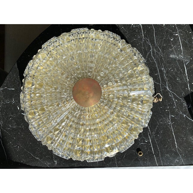 Metal Orrefors Pressed Glass Flush Mount by Carl Fagerlund For Sale - Image 7 of 7