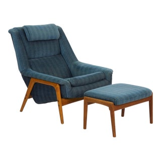 Circa 1960s Folke Ohlsson Mid Century Lounge Chair W/ Ottoman For Sale