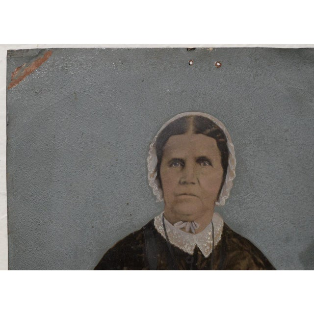 Early 19th Century 19th Century Portrait of a Woman on Tin For Sale - Image 5 of 7
