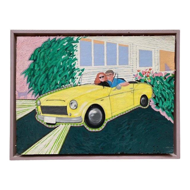 """1980s """"Cool Couple in a Yellow Drop Top"""" Postmodern Style Figurative Painting on Paper and Cardboard by Karen Kilchel, Framed For Sale"""