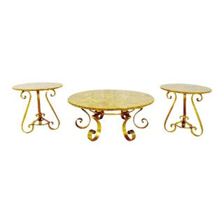 Vintage Enzo Missoni Stone & Gold Leaf Coffee & End Tables - Set of 3 For Sale