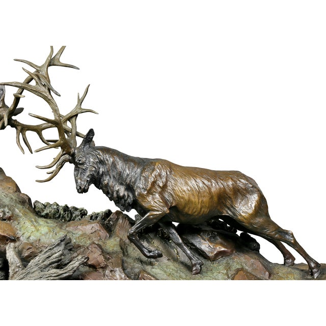 """Western Bronze of Elk """"Forces of Nature"""" by Ken Rowe For Sale - Image 4 of 13"""