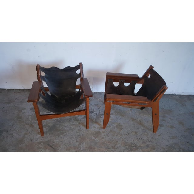 Mid-Century Modern 1970s Mid-Century Modern Sergio Rodrigues for Oca Industries Kilin Lounge Chairs - a Pair For Sale - Image 3 of 9