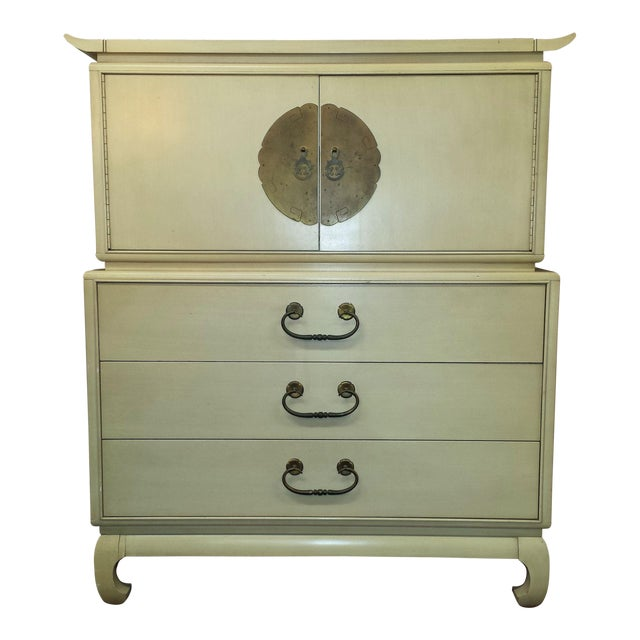 1960s Chinoiserie Kent Coffey Gentleman's Chest of Drawers For Sale