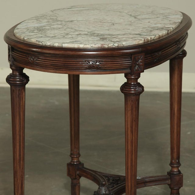 19th Century French Louis XVI Marble Top Oval End Table For Sale - Image 11 of 12