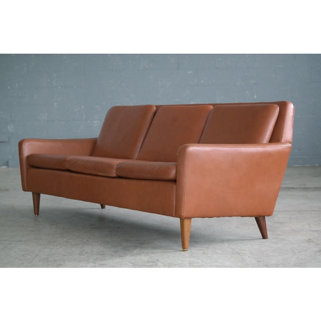 Danish Mid-Century Sofa In Cognac Leather For Sale - Image 5 of 10