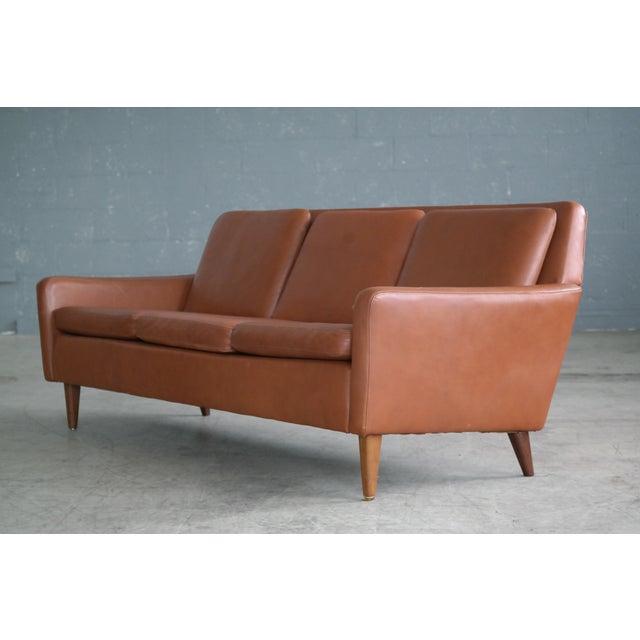 Danish Mid-Century Sofa In Cognac Leather - Image 5 of 10