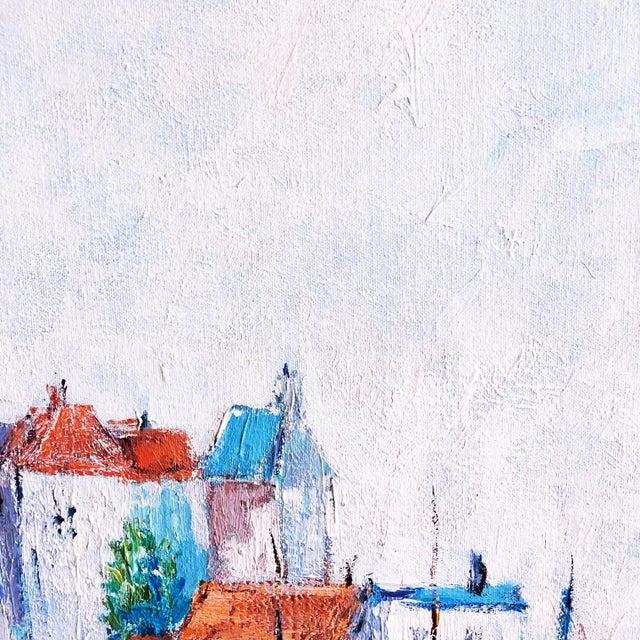 Vintage Impressionist European Mediterranean Coast Oil Painting For Sale - Image 4 of 9