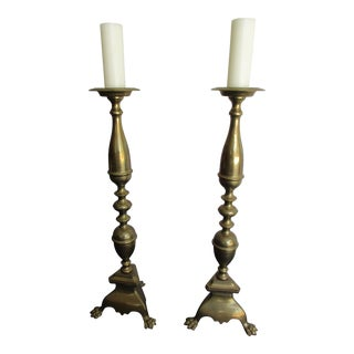 "Pair of Brass Alter or Cathedral Candlesticks - 39"" Tall For Sale"