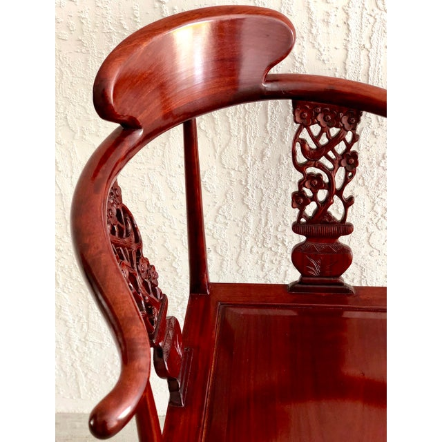 Early 21st Century Hand Carved Rosewood Oriental Corner Chair For Sale - Image 5 of 13