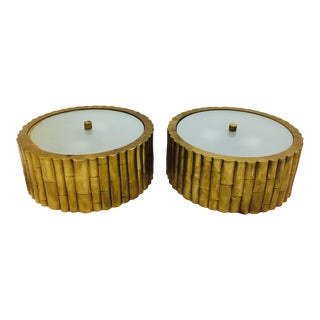 Solid Brass & Glass Bamboo Flush Mounts - a Pair