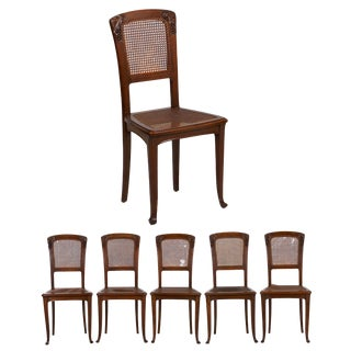 French Art Nouveau Finely Carved Walnut Dining Chairs - Set of 6 For Sale