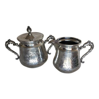 Antique Silver Plated Sugar & Creamer Set - A Pair