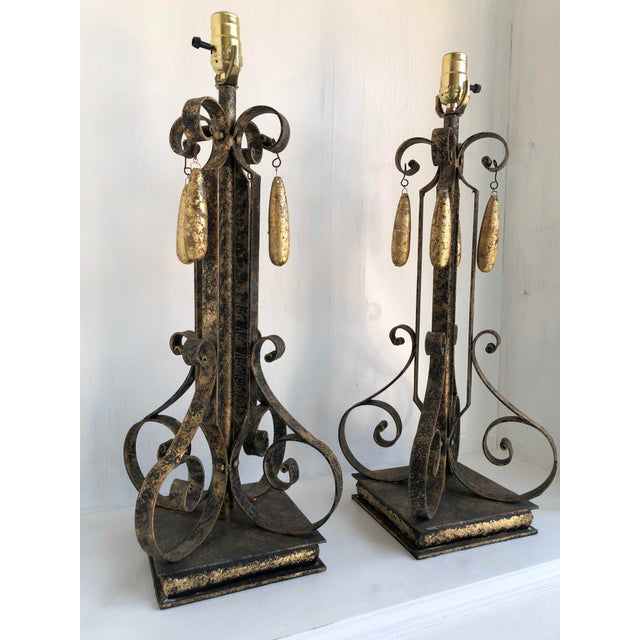Traditional Gold Brushed Metal Lamps With Four Hanging Brushed Gold Fobs - a Pair For Sale - Image 3 of 8