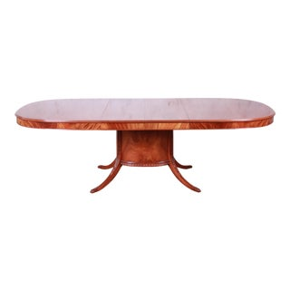 Romweber Flame Mahogany French Regency Pedestal Extension Dining Table, Newly Refinished For Sale