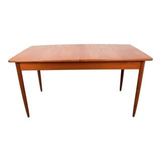 Vintage Mid-Century Modern Teak Extendable Dining Table For Sale