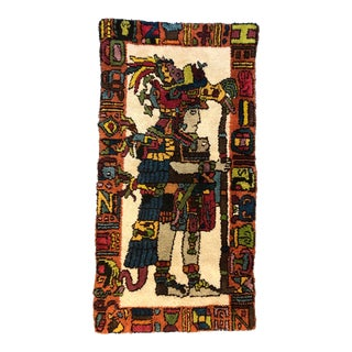 Mid Century Aztec Warrior Shag Rug For Sale