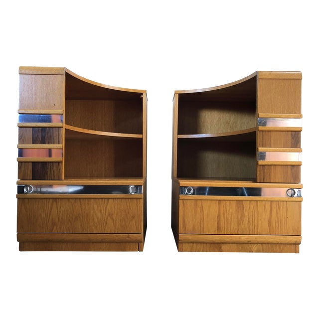 A Pair of Vintage Mid Century Modern Early 80's Nightstands For Sale