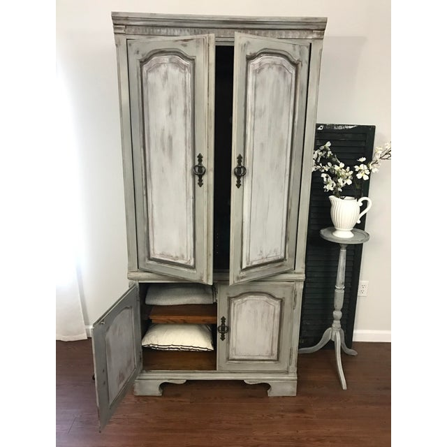 Distressed Shabby Chic Armoire - Image 7 of 11