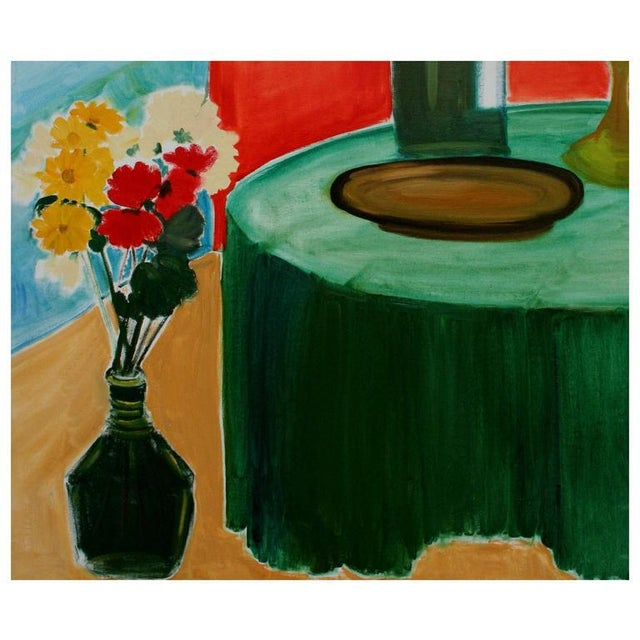 Oil on canvas painting of red, white, and yellow flowers in a vase next to a bottle of wine and a glass by California...