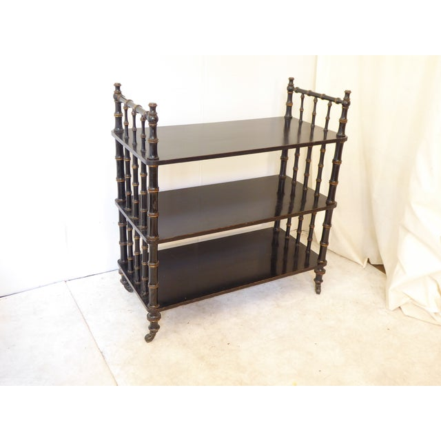 Late 19th Century Antique Regency Style Laquered Etagere For Sale - Image 5 of 5