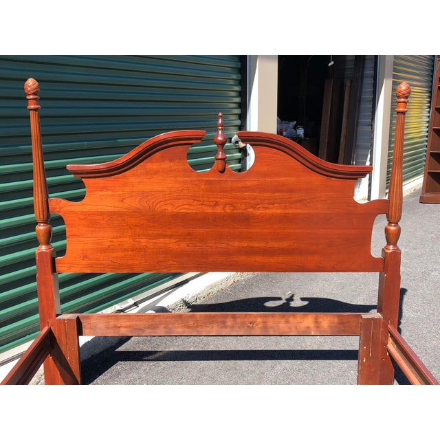 Traditional Cherry Pineapple Post Queen/Full Bed For Sale - Image 3 of 12