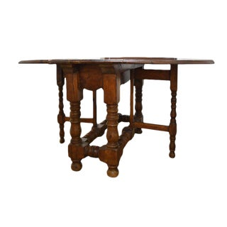 19th Century French Drop Leaf Table With Turned Legs For Sale