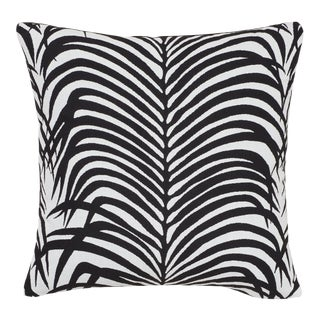 Schumacher Zebra Palm Indoor/Outdoor Pillow in Black For Sale