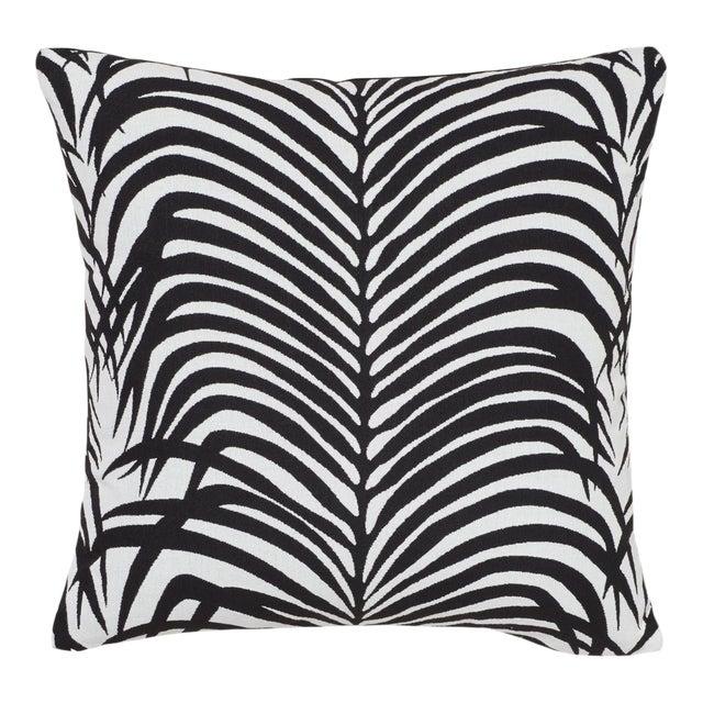 Schumacher Zebra Palm Indoor/Outdoor Pillow in Black For Sale