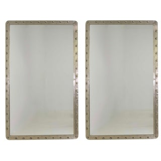 Very Large Cast Iron Porthole Industrial Style Wall Mirrors - a Pair For Sale