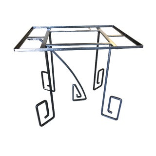 Avant-Garde Art Deco Scrolling Iron Dining Patio Table For Sale