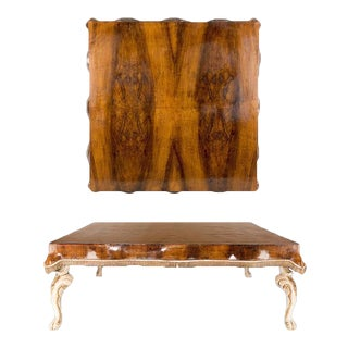 Italian Tessuti Flame Walnut Cocktail Table on Painted Cabriole Legs For Sale