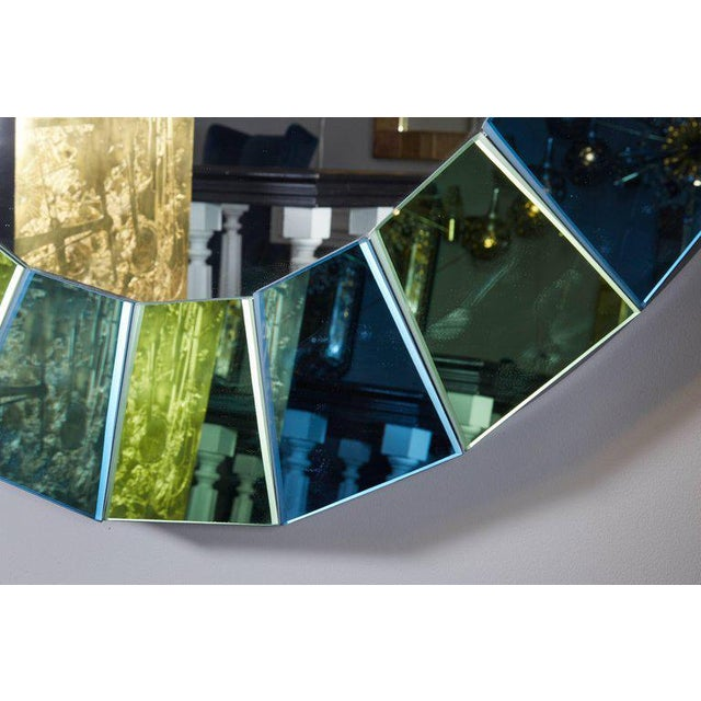 Custom Oval Mirror with Blue and Green Beveled Mirror Squares Surround For Sale In New York - Image 6 of 7