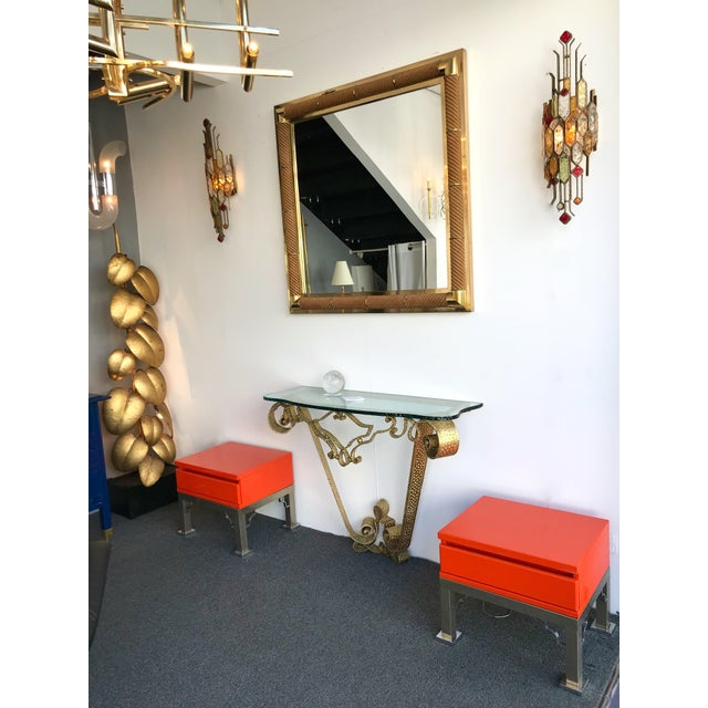 Pair of End Side Low coffee tables or nightstands orange lacquered and metal chrome base by the editor Dal Vera. Famous...