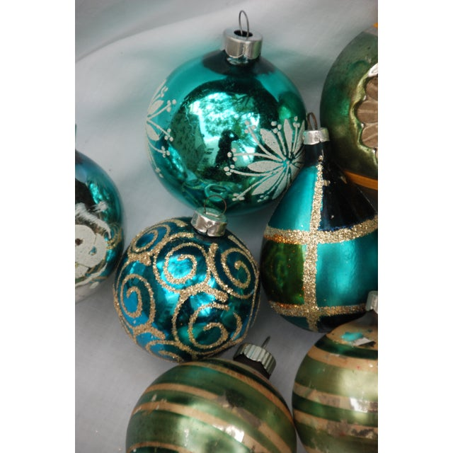 Vintage Blue and Green Glass Ornaments - Set of 11 - Image 8 of 10