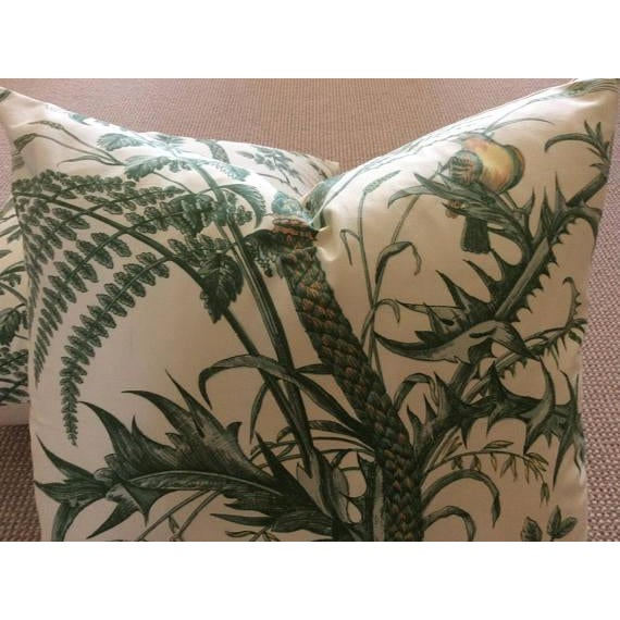 Brunschwig & Fils Bird and Thistle Green Pillow Covers - a Pair - Image 3 of 7