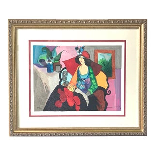 Itzchak Tarkay 'Red Hat' Signed Limited Edition Serigraph. Late 20th Century Print For Sale