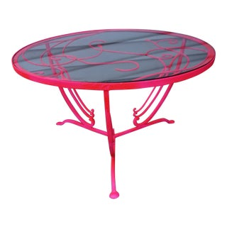 Salterini Neon Pink Wrought Iron Coffee Table For Sale