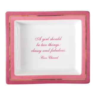 Coco Chanel Wise Sayings Trinket Tray by Kenneth Ludwig Chicago For Sale