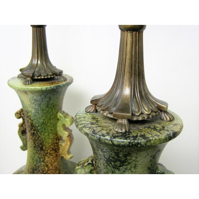 Pair Mid-Century Modern Asian Ceramic Pottery Lamps Green MCM James Mont Style For Sale In Miami - Image 6 of 11